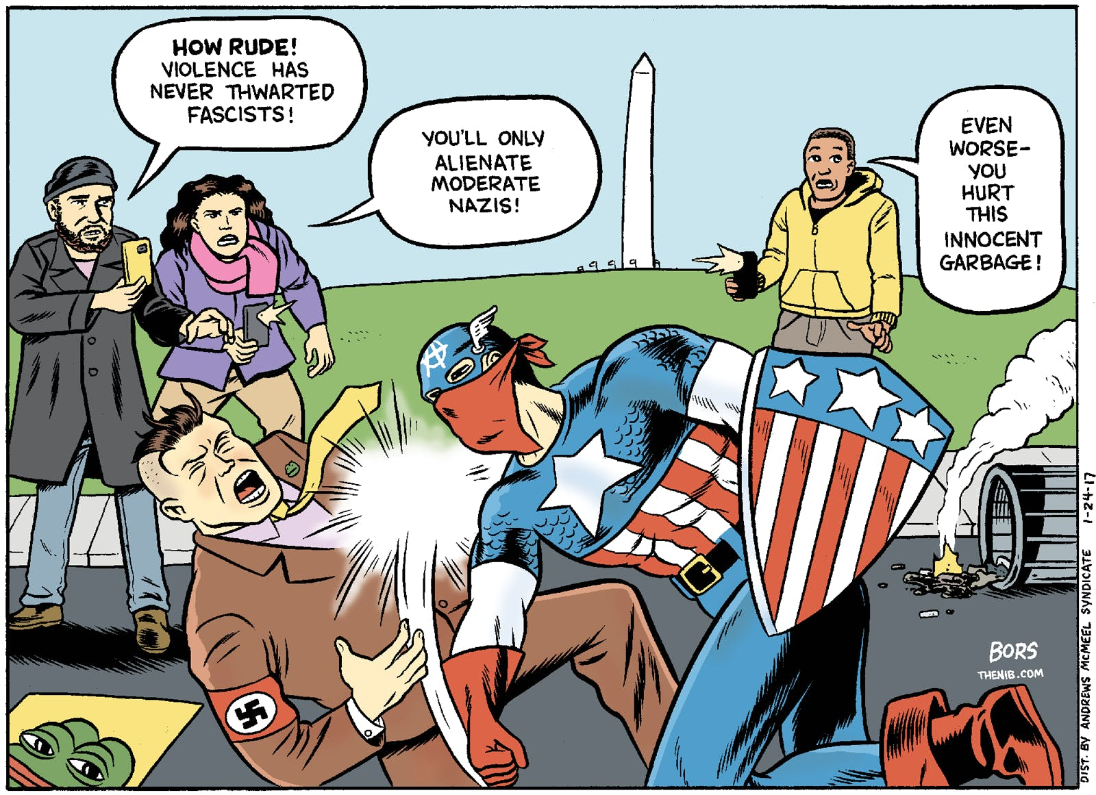 Comic by Matt Bors, who articulates many of my friends position well.