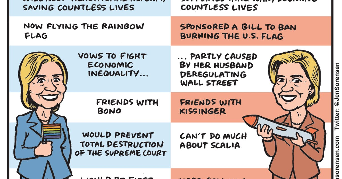 Pros and Cons of Hillary Clinton - by Jen Sorensen