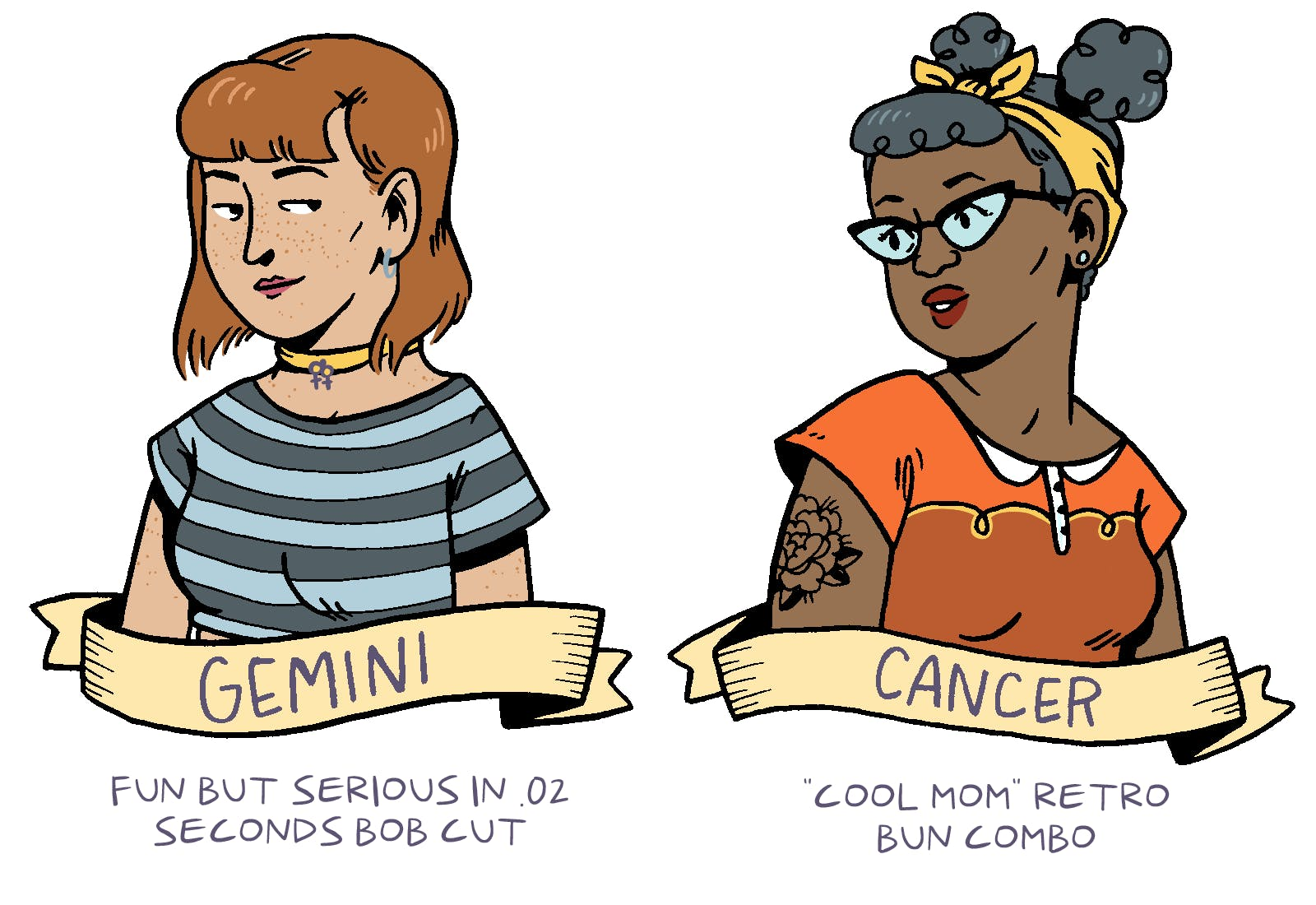 Astrological Signs as Classic Queer Haircuts - by Shelby Criswell