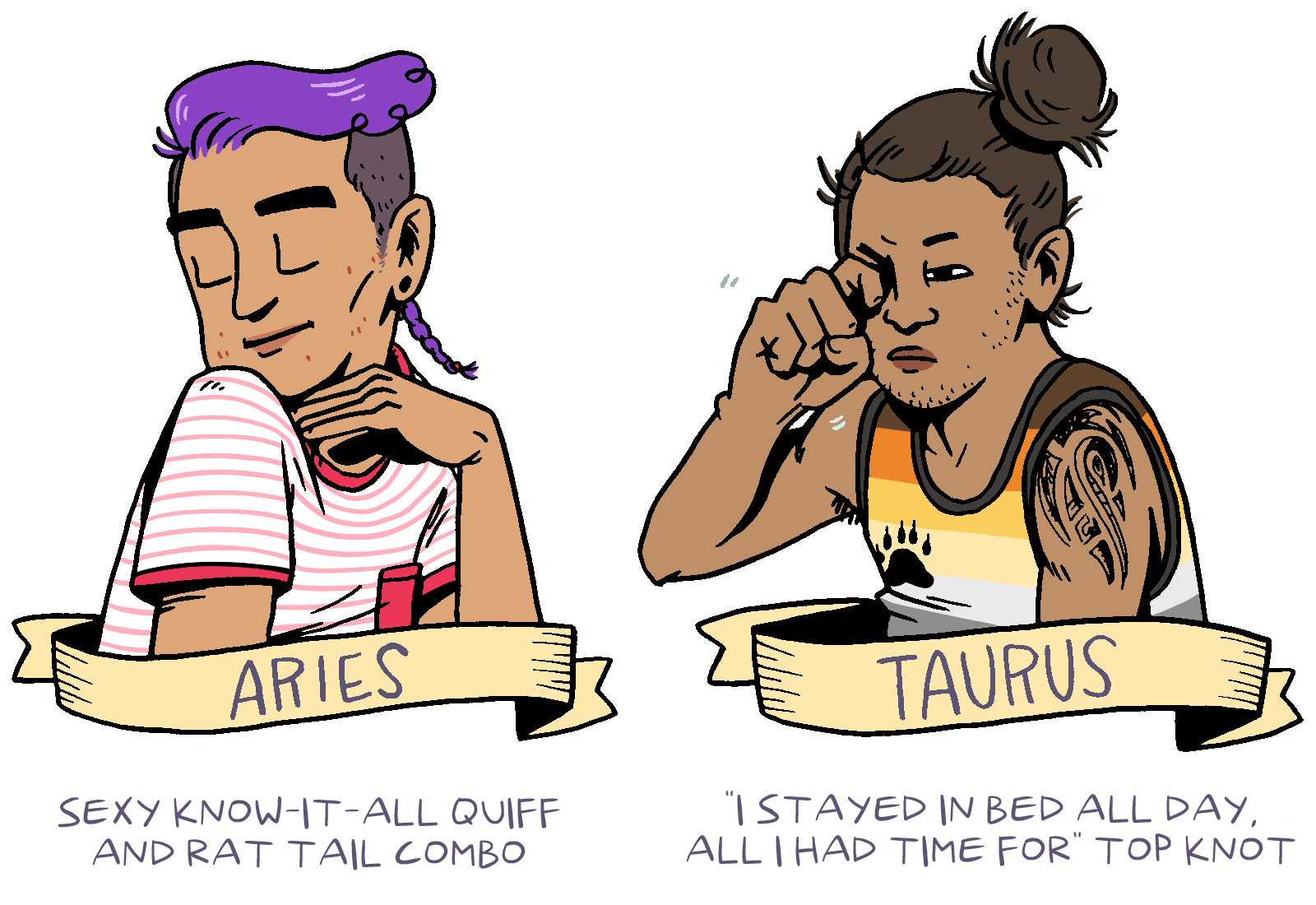 Astrological Signs as Classic Queer Haircuts , by Shelby