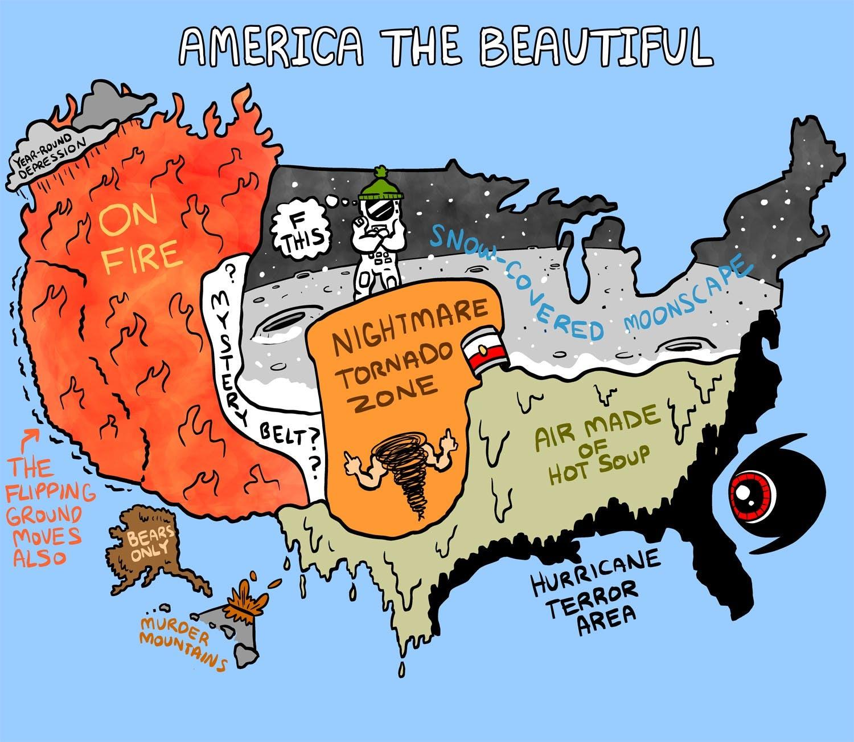 Weather Map Of America.America S Beautiful Weather Zones By Matt Lubchansky